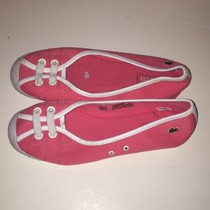 Pink Lacoste slide ons